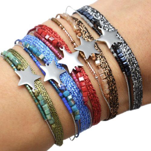 Bracelet-Multi-Rangs-Perles-et-Tissu-Brillant-avec-Charm-Etoile-Acier-Argente