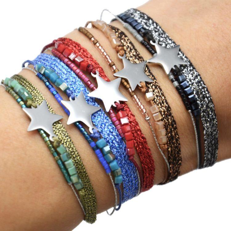 Bracelet-Multi-Rangs-Perles-et-Tissu-Brillant-avec-Etoile-Acier-Argente