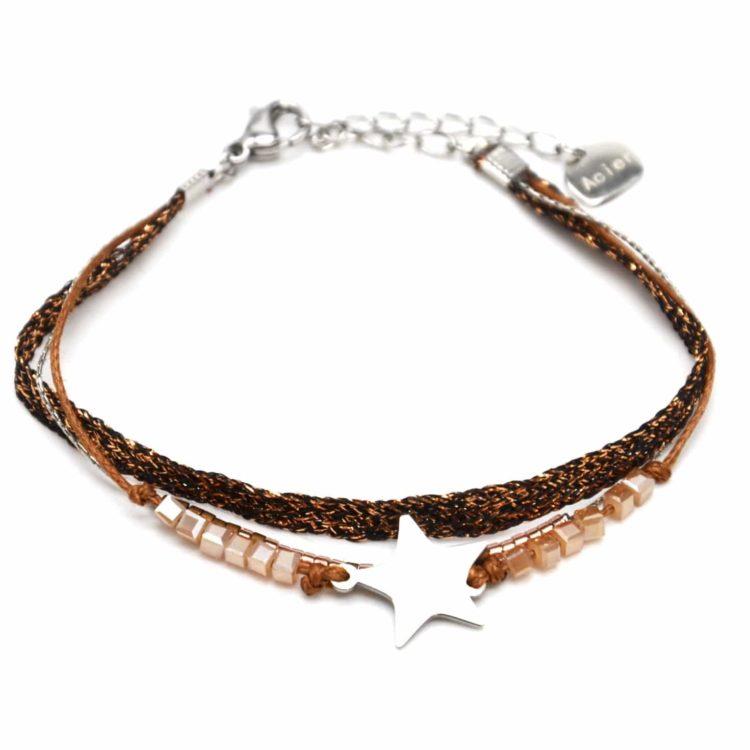 Bracelet-Multi-Rangs-Perles-et-Tissu-Brillant-Marron-avec-Etoile-Acier-Argente