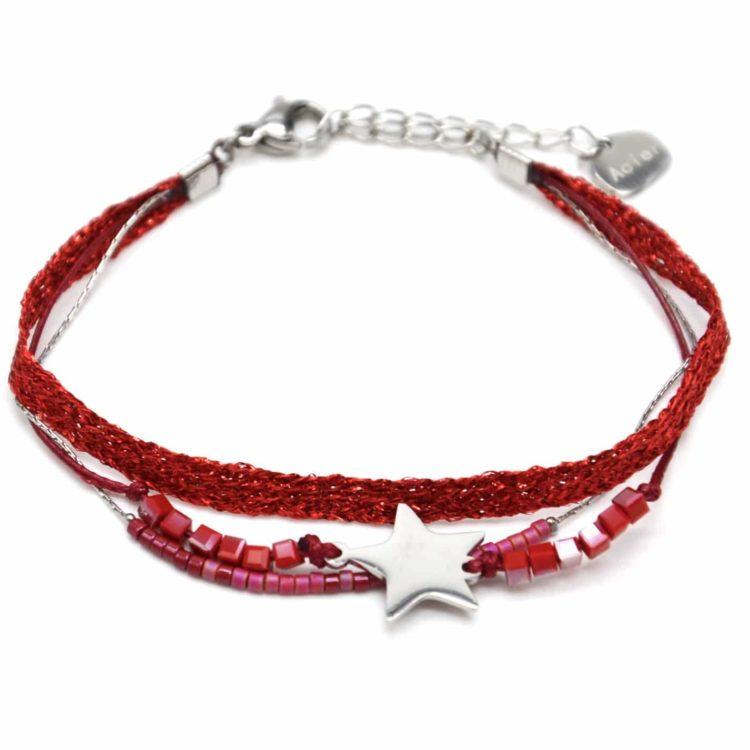 Bracelet-Multi-Rangs-Perles-et-Tissu-Brillant-Rouge-avec-Etoile-Acier-Argente
