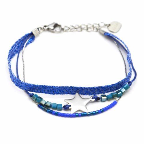 Bracelet-Multi-Rangs-Perles-et-Tissu-Brillant-Bleu-avec-Charm-Etoile-Acier-Argente