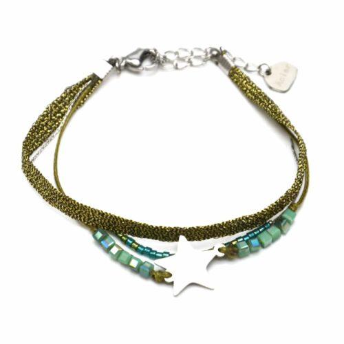 Bracelet-Multi-Rangs-Perles-et-Tissu-Brillant-Kaki-avec-Charm-Etoile-Acier-Argente