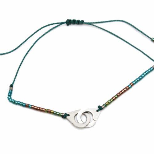 Bracelet-Cordon-Ajustable-Bleu-Canard-Sapin-avec-Perles-Rocaille-et-Charm-Menottes-Acier-Argente