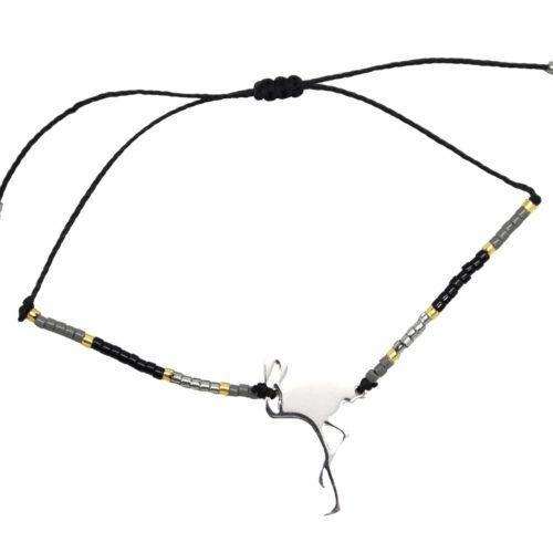 Bracelet-Cordon-Ajustable-Noir-avec-Perles-Rocaille-et-Charm-Flamant-Rose-Acier-Argente