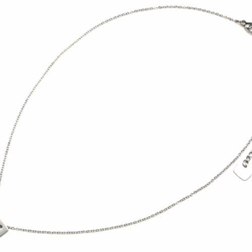 Collier-Fine-Chaine-Pendentif-Medaille-Rectangle-Love-Acier-Argente