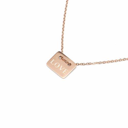Collier-Fine-Chaine-Pendentif-Medaille-Rectangle-Love-Acier-Or-Rose