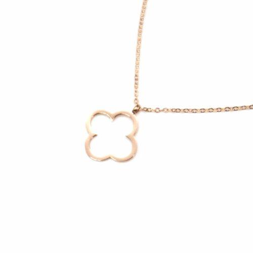 Collier-Fine-Chaine-Pendentif-Trelfe-Chance-Contour-Acier-Or-Rose