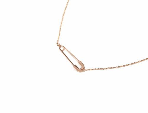 CC1875F Collier Fine Chaîne Pendentif Epingle à Nourrice Acier Or Rose