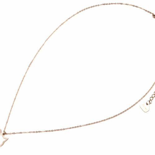 Collier-Fine-Chaine-Pendentif-Chat-Contour-Acier-Or-Rose