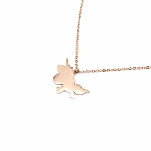 Collier-Fine-Chaine-Pendentif-Licorne-Acier-Or-Rose