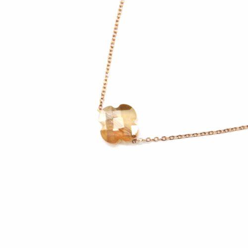 Collier-Fine-Chaine-Acier-Or-Rose-Pendentif-Trefle-Pierre-Champagne