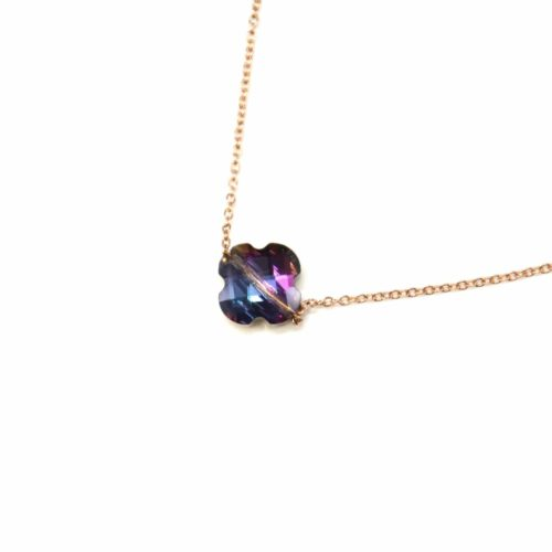 Collier-Fine-Chaine-Acier-Or-Rose-Pendentif-Trefle-Pierre-Violette