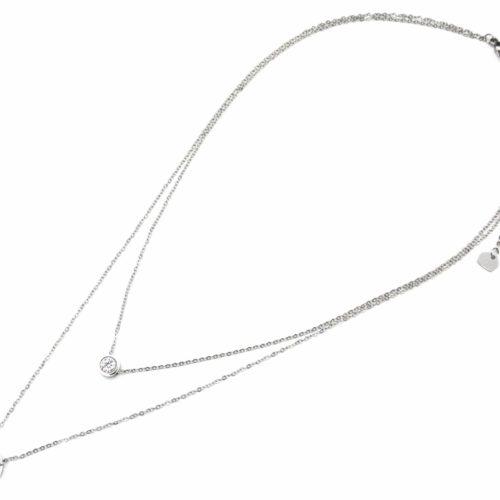 Collier-Double-Fine-Chaine-avec-Pierre-et-Cercle-Contour-Acier-Argente