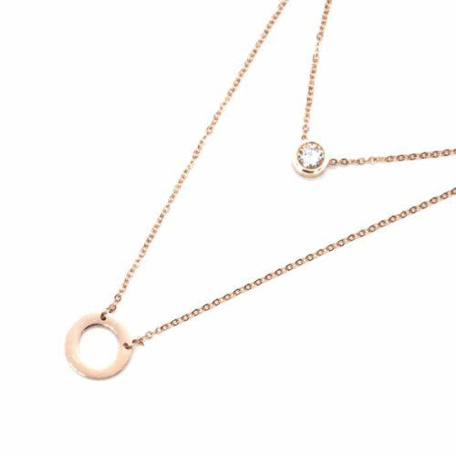 Collier-Double-Fine-Chaine-avec-Pierre-et-Cercle-Contour-Acier-Or-Rose