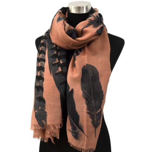 Foulard-Long-Automne-Hiver-Uni-Motif-Plumes-XXL-Style-Aquarelle-Vieux-Rose