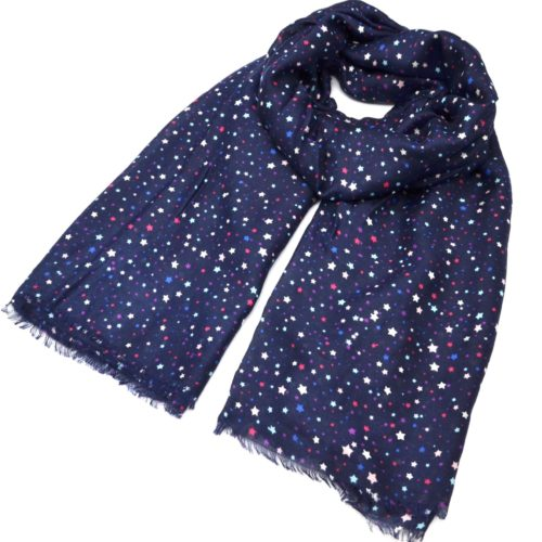 Foulard-Long-Automne-Hiver-Uni-Motif-Mini-Etoiles-Multicolore-Bleu-Marine