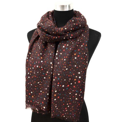 Foulard-Long-Automne-Hiver-Uni-Motif-Mini-Etoiles-Multicolore-Marron-Bordeaux