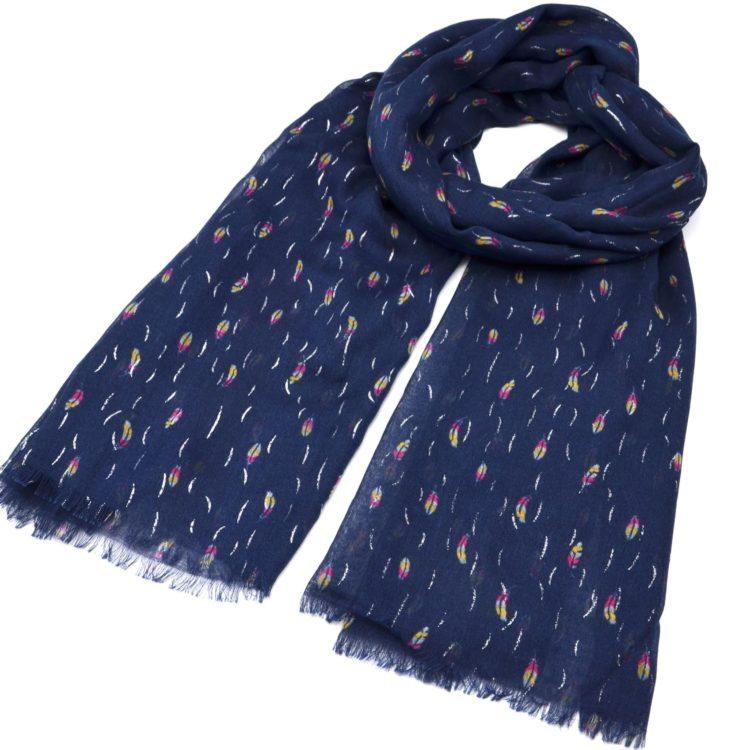 Foulard-Long-Automne-Hiver-Uni-Motif-Mini-Plumes-Multicolore-Bleu-Marine