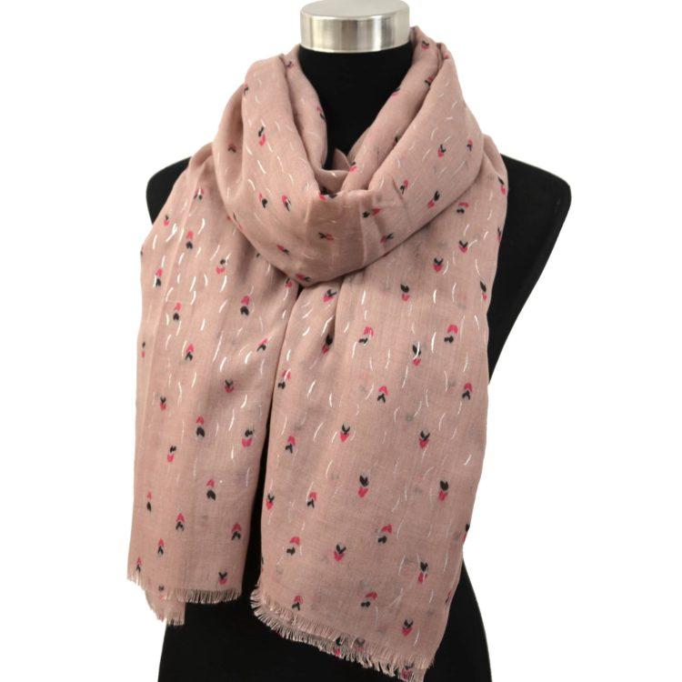 Foulard-Long-Automne-Hiver-Uni-Motif-Mini-Plumes-Multicolore-Vieux-Rose