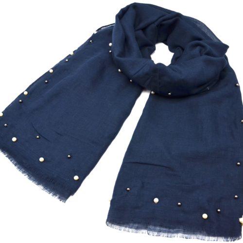 Foulard-Long-Automne-Hiver-Uni-avec-Contour-Perles-Ecru-et-Boules-Metal-Bleu-Marine