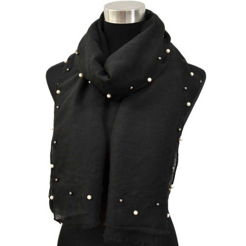 Foulard-Long-Automne-Hiver-Uni-avec-Contour-Perles-Ecru-et-Boules-Metal-Noir