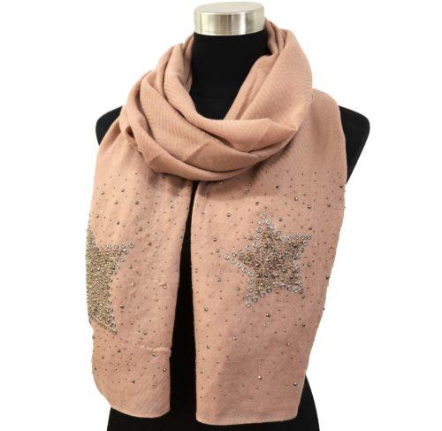 Foulard-Long-Automne-Hiver-Crepe-Uni-avec-Motifs-Etoiles-et-Clous-Brillants-Vieux-Rose