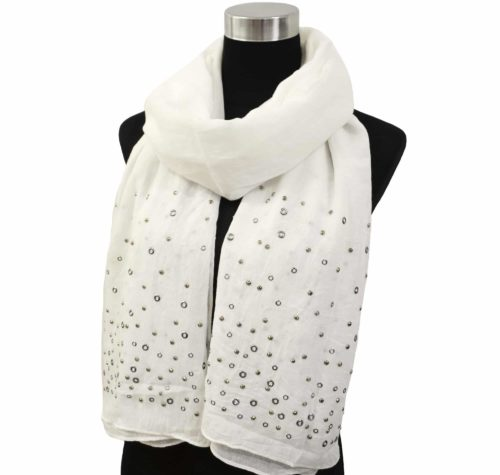 Foulard-Long-Automne-Hiver-Uni-avec-Oeillets-Metal-et-Clous-Brillants-Blanc