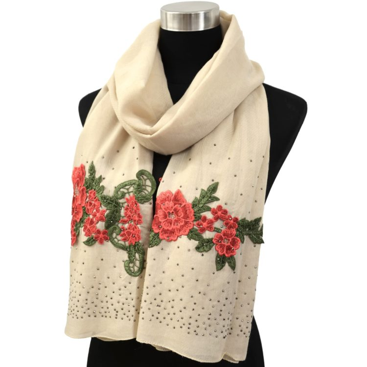 Foulard-Long-Automne-Hiver-Crepe-Uni-avec-Broderies-Fleurs-et-Clous-Brillants-Beige