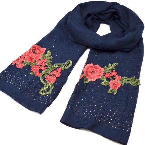 Foulard-Long-Automne-Hiver-Crepe-Uni-avec-Broderies-Fleurs-et-Clous-Brillants-Bleu-Marine