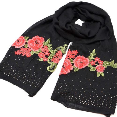 Foulard-Long-Automne-Hiver-Crepe-Uni-avec-Broderies-Fleurs-et-Clous-Brillants-Noir