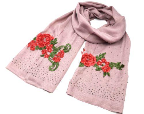 Foulard-Long-Automne-Hiver-Crepe-Uni-avec-Broderies-Fleurs-et-Clous-Brillants-Vieux-Rose