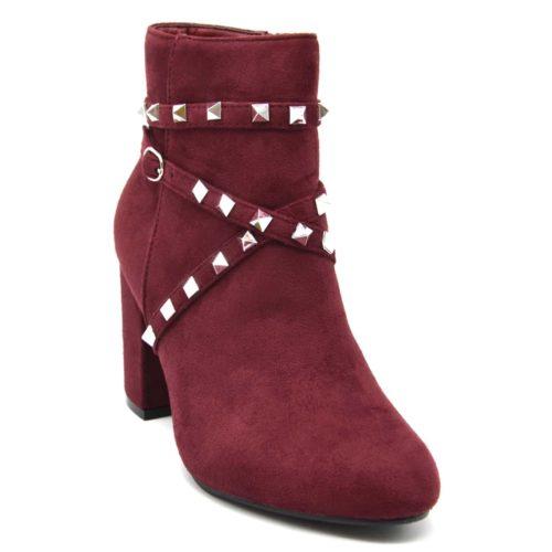 Bottines-Boots-Effet-Daim-avec-Talon-Carre-et-Brides-Clous-Pyramide-Metal-Argente-Bordeaux