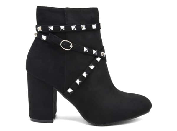 Bottines-Boots-Effet-Daim-avec-Talon-Carre-et-Brides-Clous-Pyramide-Metal-Argente-Noir