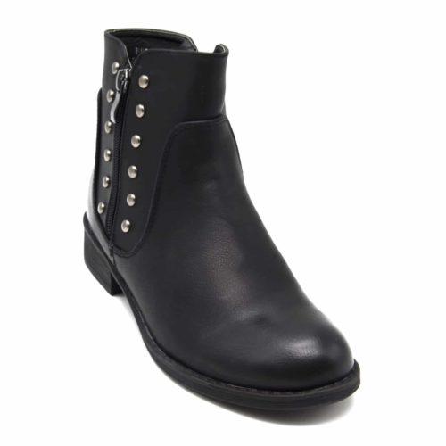 Bottines-Boots-Plates-Simili-Cuir-avec-Clous-Metal-Argente-et-Double-Fermeture-Zip-Noir