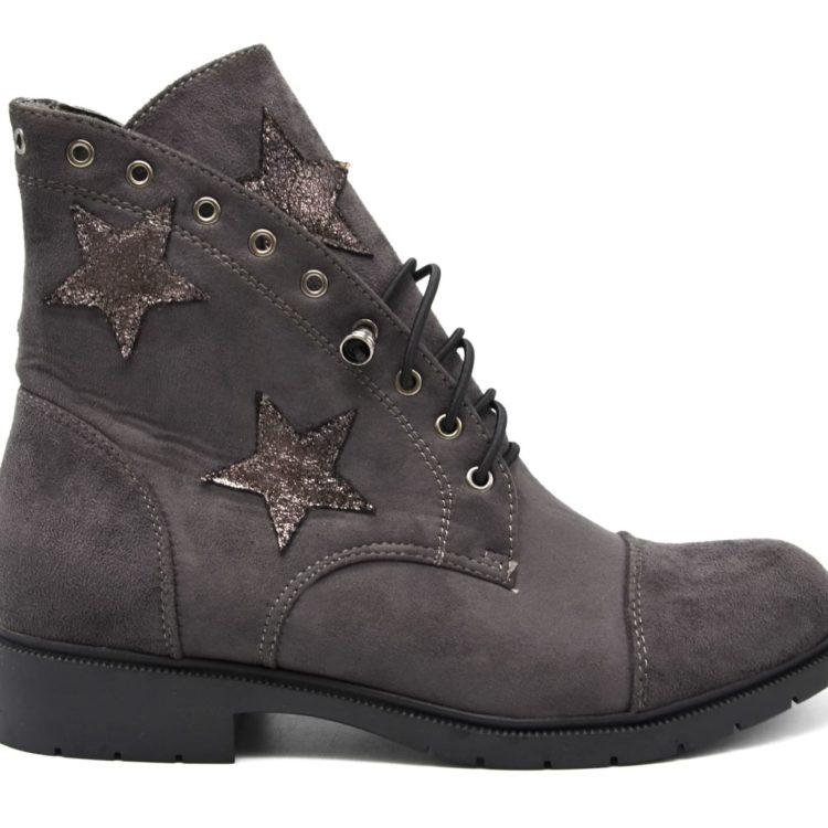 Bottines-Boots-Plates-Effet-Daim-avec-Etoiles-Tissu-Brillant-et-Bord-Montant-Oeillets-Gris