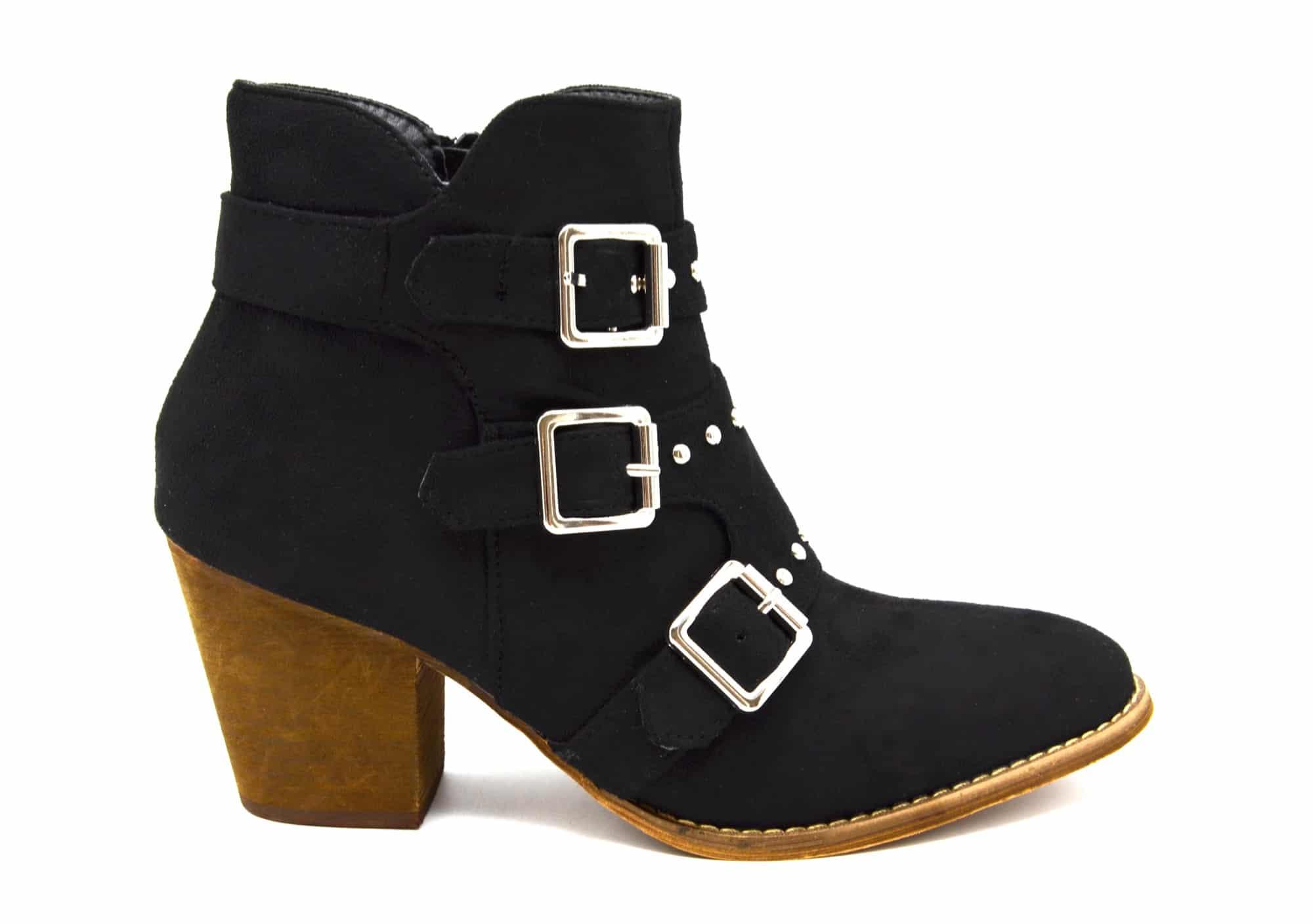101891b087fa62 SHF97 * Bottines Boots Effet Daim avec Petit Talon et Triple Boucles  Cloutées Argenté (Noir)