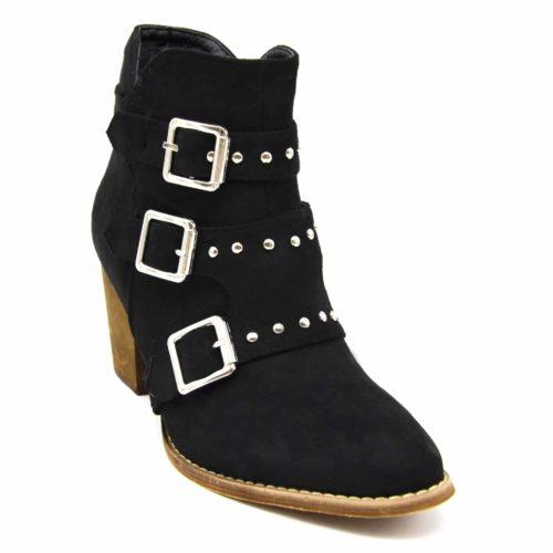 Bottines-Boots-Effet-Daim-avec-Petit-Talon-et-Triple-Boucles-Cloutees-Metal-Argente-Noir
