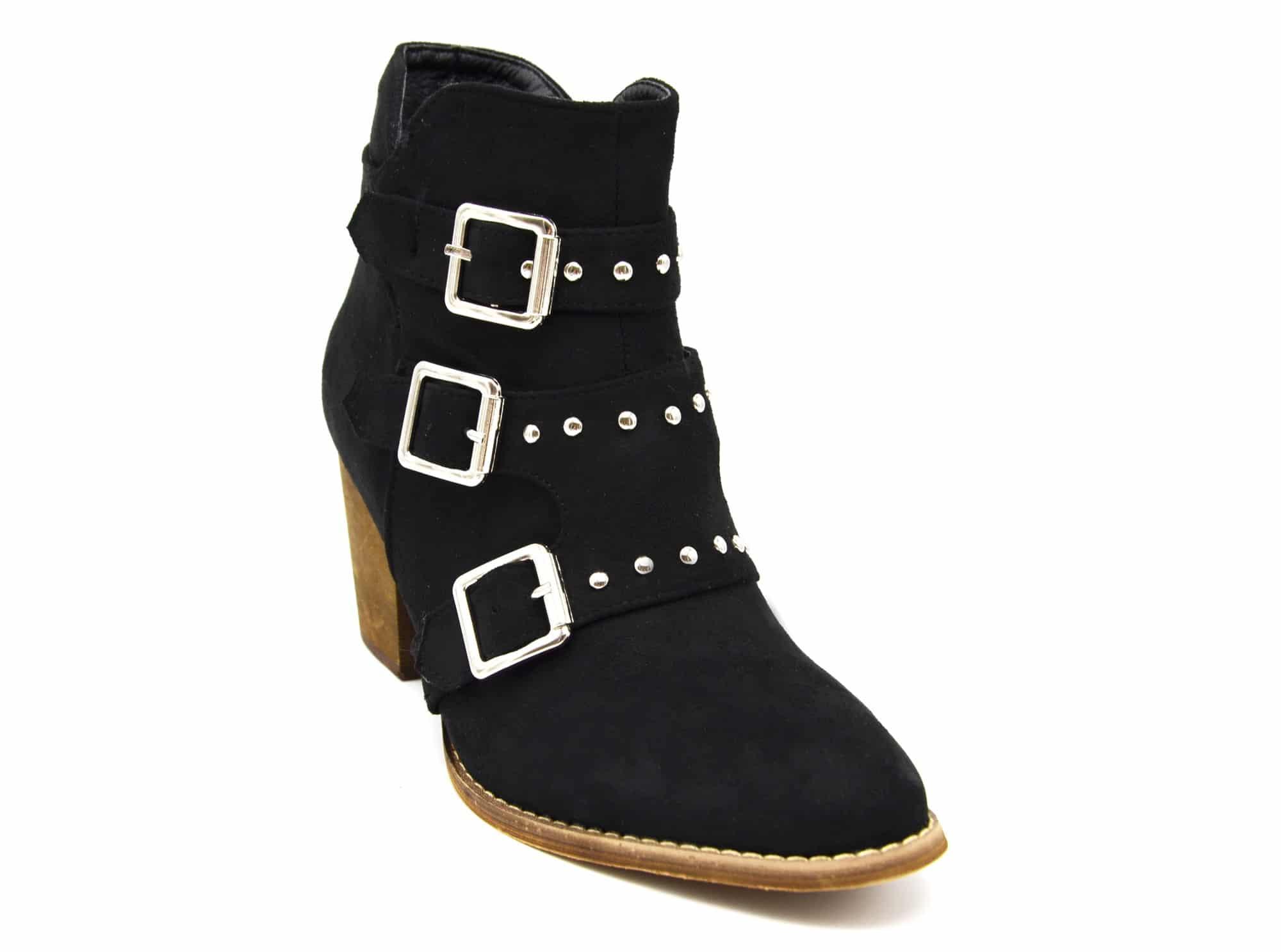 shf97 bottines boots effet daim avec petit talon et triple boucles clout es argent noir. Black Bedroom Furniture Sets. Home Design Ideas