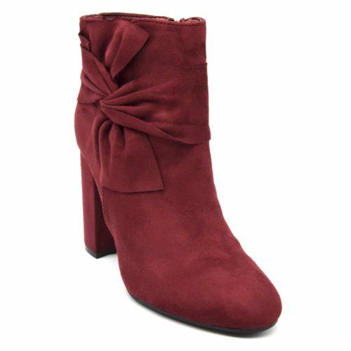 Bottines-Boots-Effet-Daim-avec-Talon-Carre-et-Noeud-Drape-sur-Cote-Bordeaux