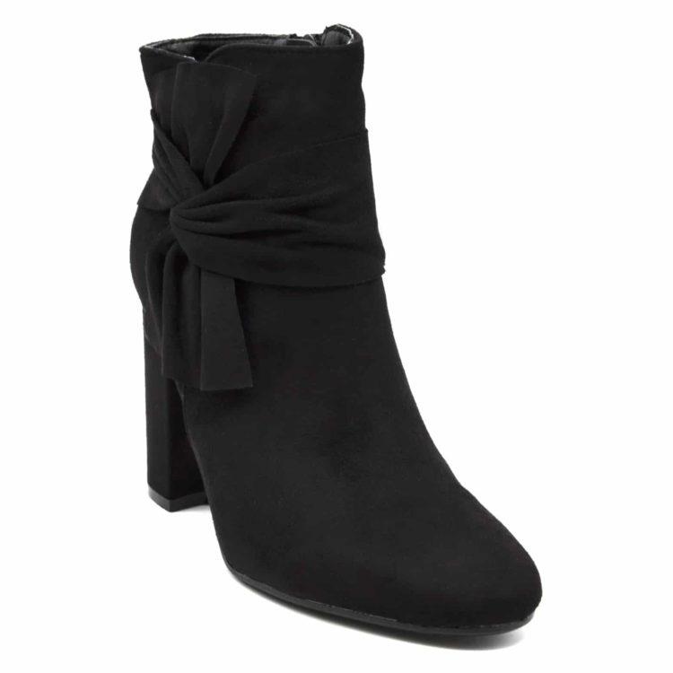 Bottines-Boots-Effet-Daim-avec-Talon-Carre-et-Noeud-Drape-sur-Cote-Noir