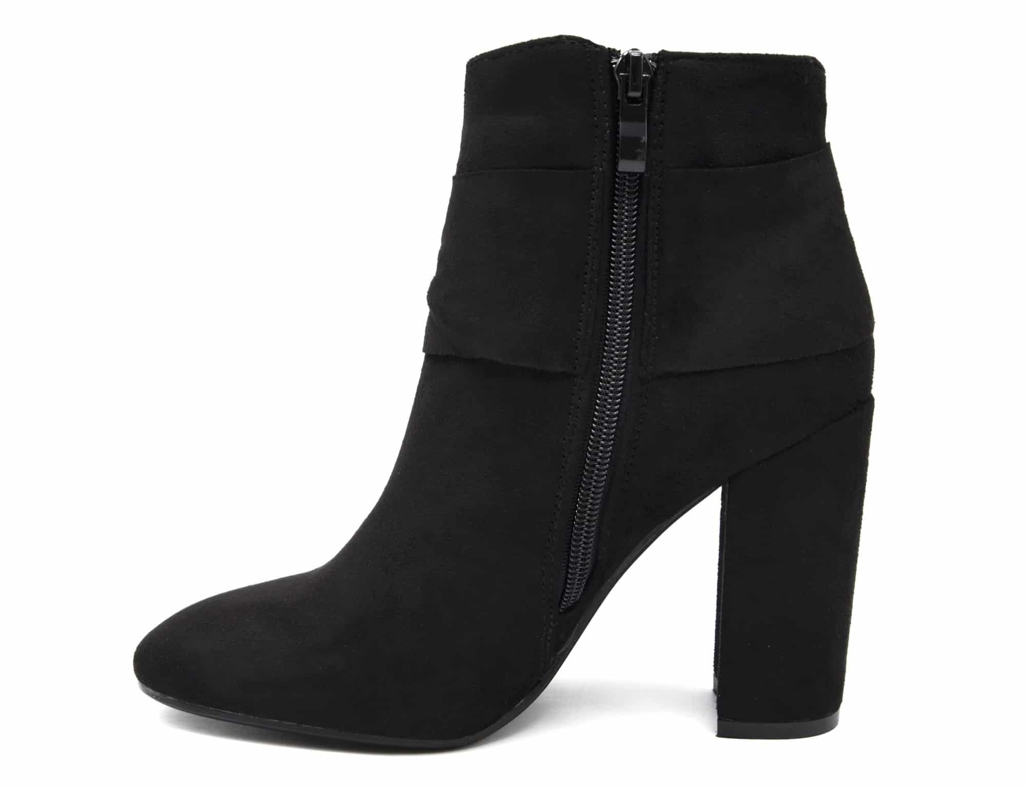 shf98 bottines boots effet daim avec talon carr et. Black Bedroom Furniture Sets. Home Design Ideas