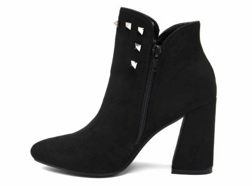 Bottines-Boots-Effet-Daim-Bout-Pointu-avec-Talon-Carre-et-Clous-Pyramide-Metal-Gris-Noir