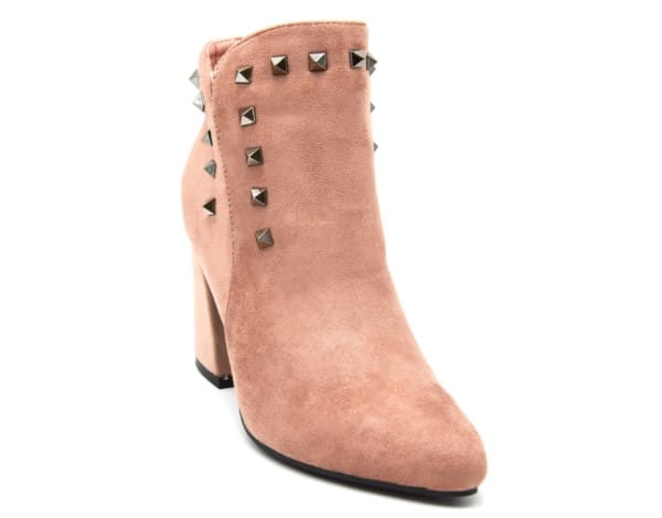 Bottines-Boots-Effet-Daim-Bout-Pointu-avec-Talon-Carre-et-Clous-Pyramide-Metal-Gris-Rose