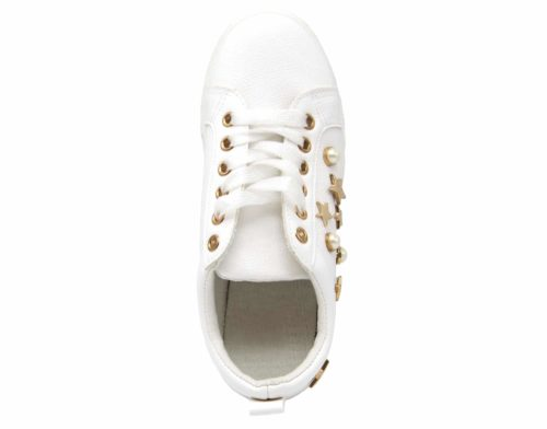 Baskets-Tennis-Sneakers-Simili-Cuir-avec-Perles-Ecru-et-Clous-Etoiles-Metal-Dore-Blanc