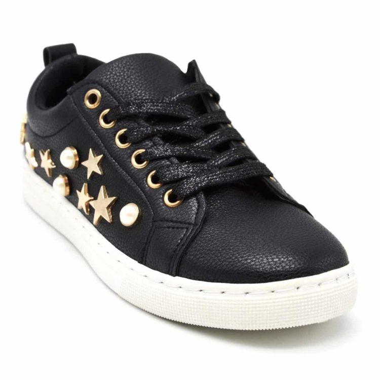 Baskets-Tennis-Sneakers-Simili-Cuir-avec-Perles-Ecru-et-Clous-Etoiles-Metal-Dore-Noir