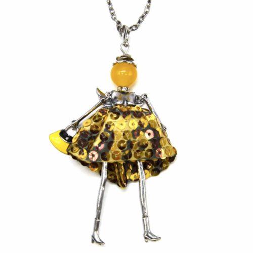 Sautoir-Collier-Pendentif-Poupee-Articulee-Femme-Robe-Sequins-Dore-avec-Ailes-Metal