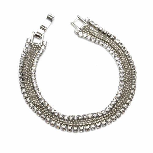 Bracelet-Gourmette-Multi-Chaines-Boules-et-Contour-Strass-Argente