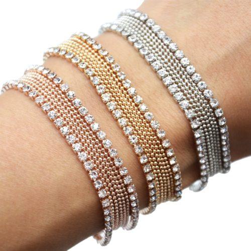 Bracelet-Gourmette-Multi-Chaines-Boules-et-Contour-Strass