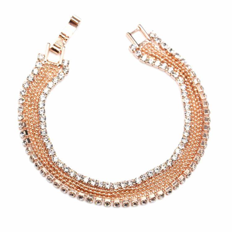 Bracelet-Gourmette-Multi-Chaines-Boules-et-Contour-Strass-Or-Rose