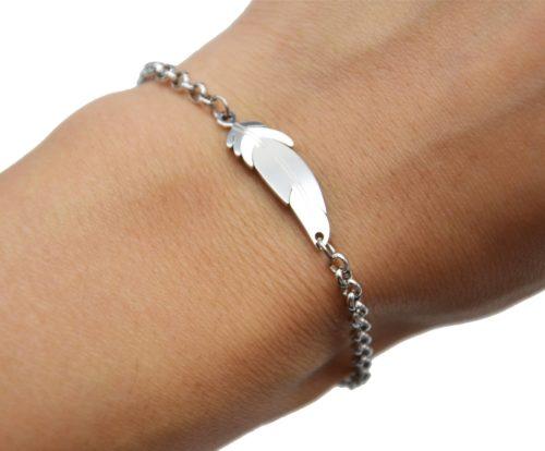 Bracelet-Chaine-Maillons-avec-Charm-Plume-Acier-Argente